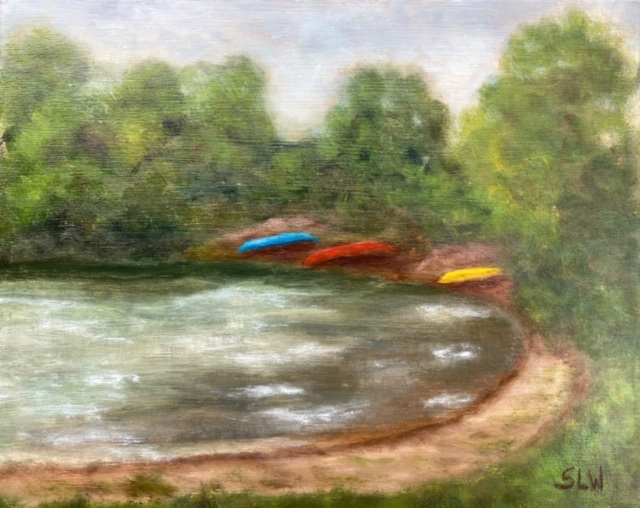 Sherry Withers #265 Waiting Canoes Oil $75.00