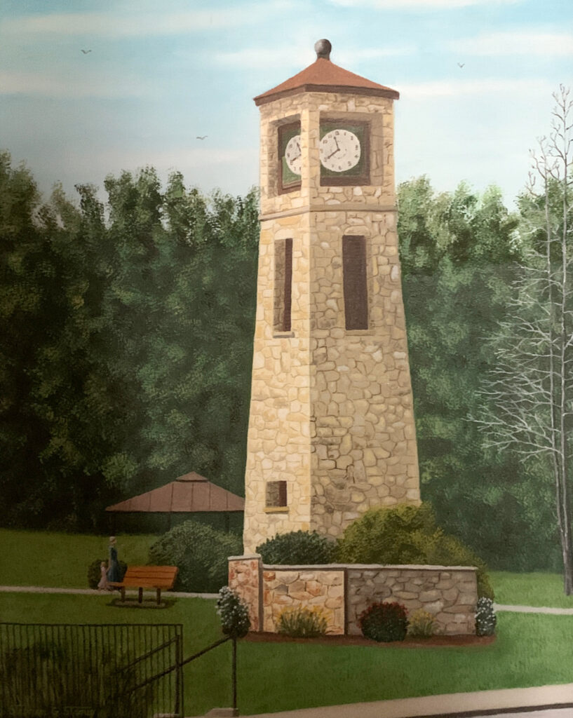 """Stephen Stroup """"Boiling Springs Clock Tower"""" Oil $325"""