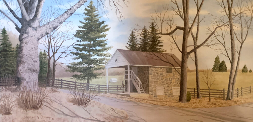 """Stephen Stroup """"Swift Run Road Spring House"""" Oil $350"""