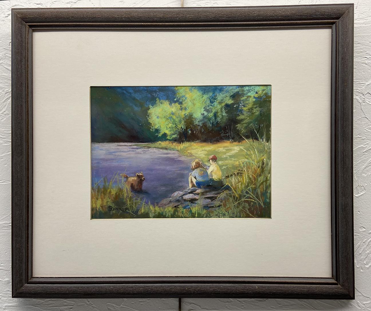 #7 Dog in a  Pond, Sharon Benner, Pastel (22 x 18), $45.00 suggested minimum bid  (140 meals)