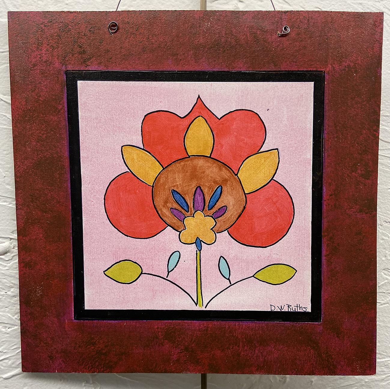 #11 Fraktur Flower, Deb Ruths, Acrylic on Wood (10 x 10), $15.00 suggested minimum bid  (47 meals)