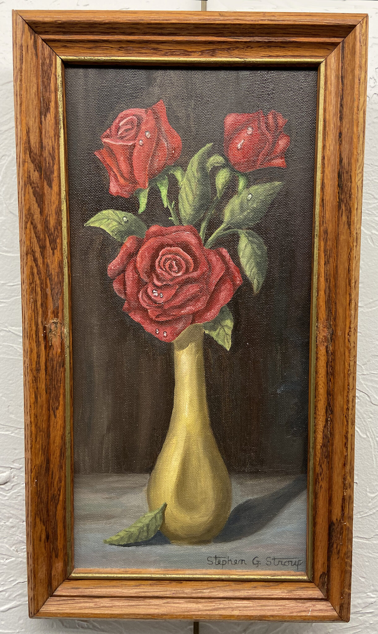 #10 Roses in a Vase, Steve Stroup, Oil (9 x 16), $30.00 suggested minimum bid  (94 meals)