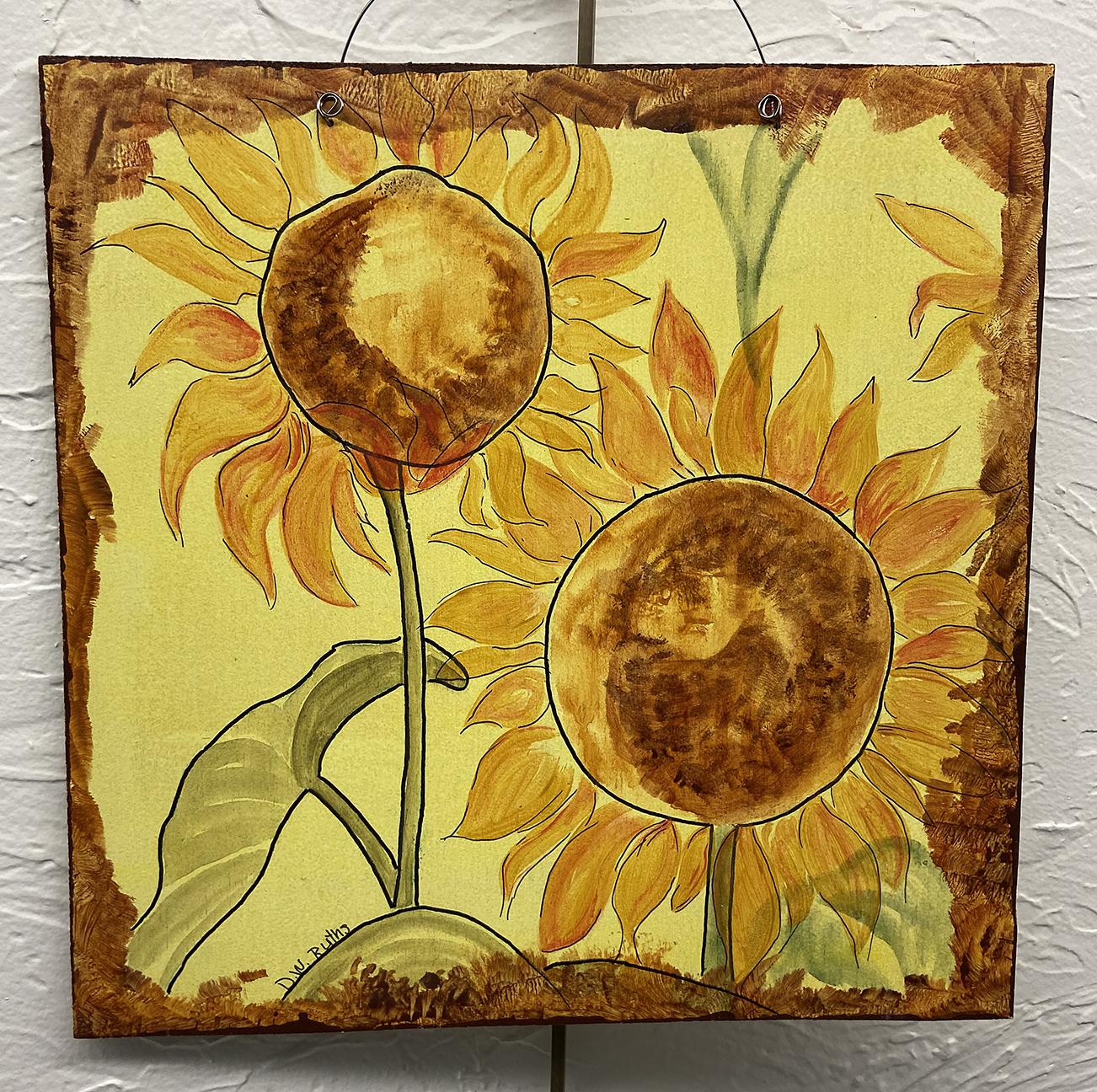 #5 Sunflowers, Deb Ruths, Acrylic on Wood (10 x 10), $15.00 suggested minimum bid  (47 meals)