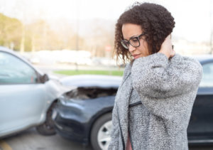 A woman who needs the help of a car accident attorney in Davenport, IA