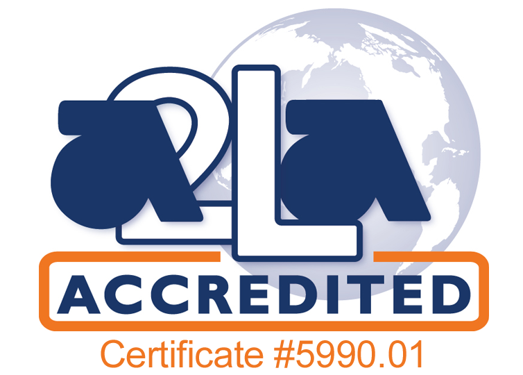 The logo of American Association for Laboratory Accreditation, Certificate Number 5990.01