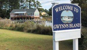 Welcome to Gwynn's Island sign