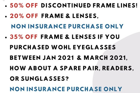 Big Sale Discount Pricing for April 2021 at Wohl Optics Warminster PA