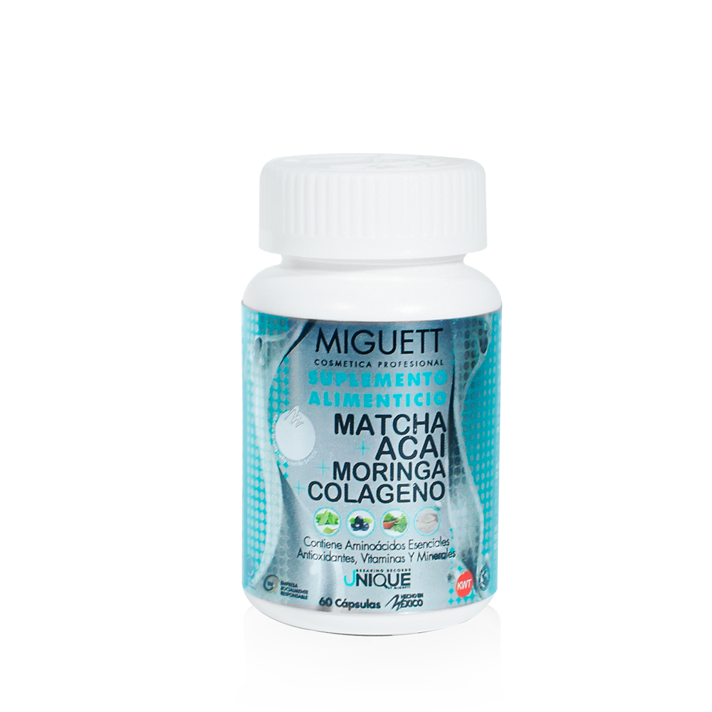 Suplemento Alimenticio: Cápsulas de Matcha + Acai + Moringa + Colágeno 24 horas de energía