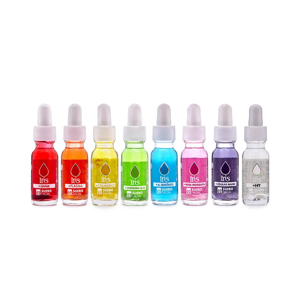 Set de 8 Iris: Blanco, Morado, Azul, Rosa, Verde, Amarillo, Naranja y Rojo
