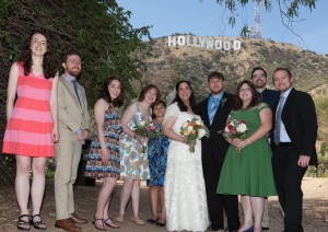 Wedding Party under Hollywood Sign