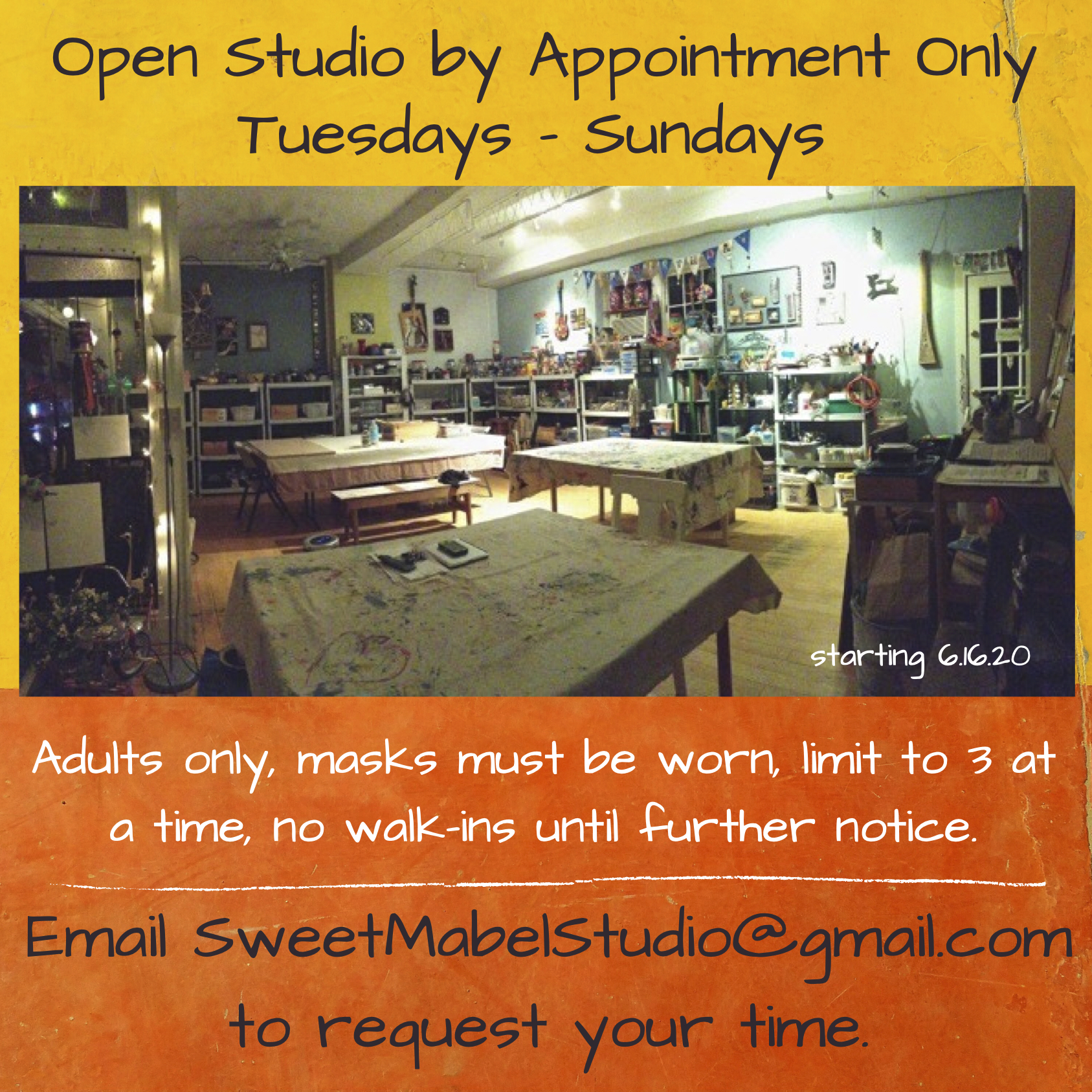Open Studio by Appointment Only 12-6