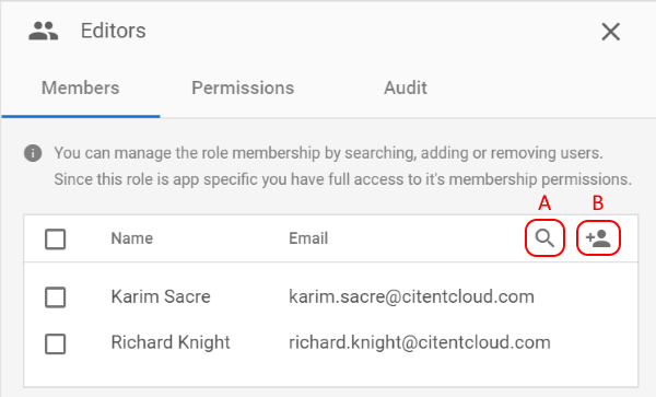 Managing Role Members add and search