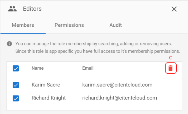 Managing Role Members Remove