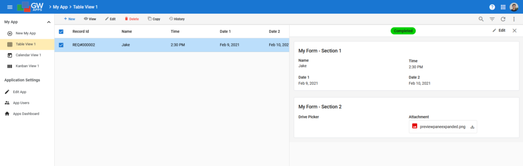 Preview Pane Example