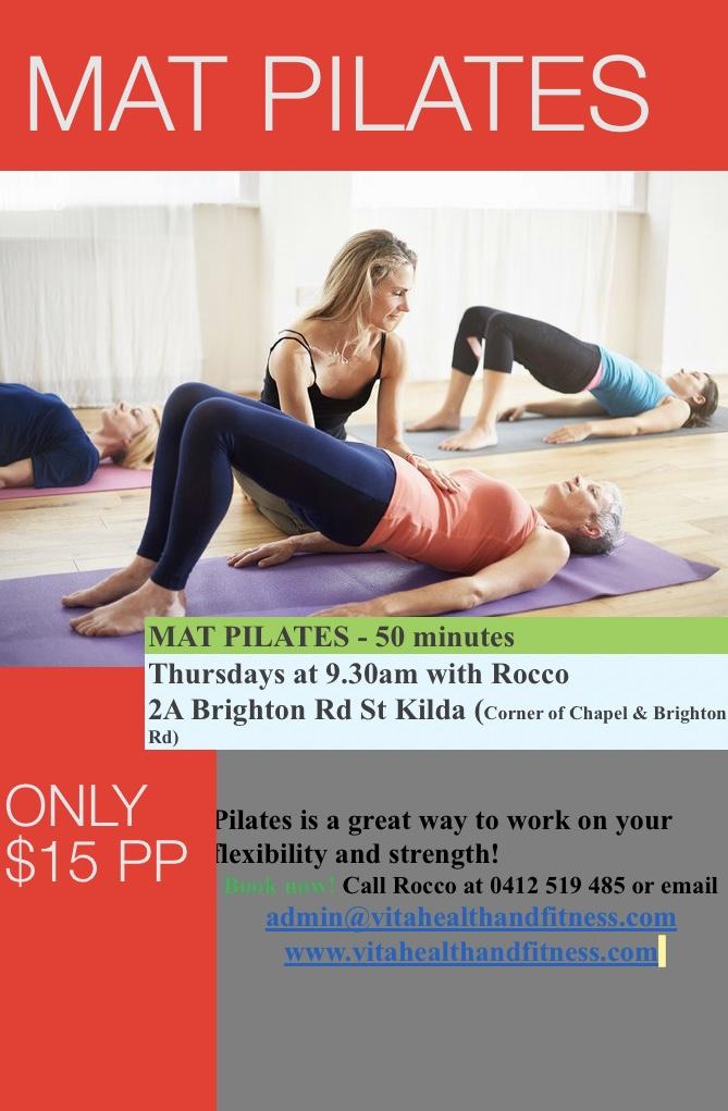 St Kilda Mat Pilates classes only $15
