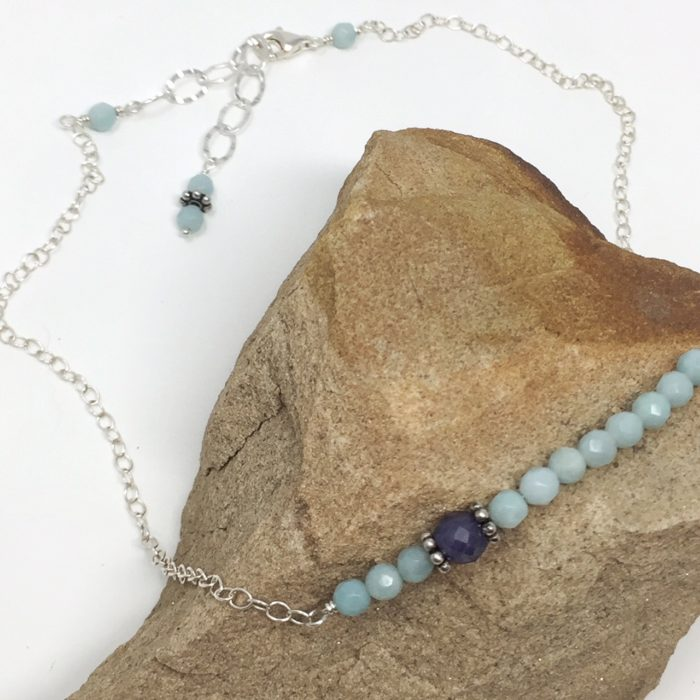 Amazonite and sapphire beaded necklace in choker style, sterling silver.