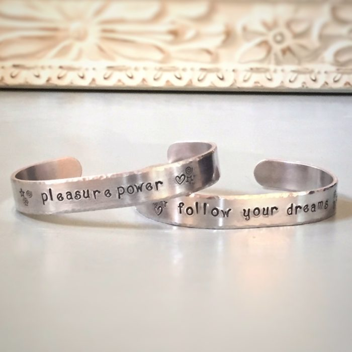 hand stamped bracelet cuff in aluminum with customized message