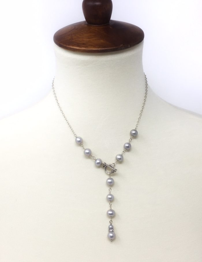 Fresh water pearl lariat with sterling silver toggle
