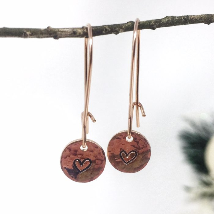 Rose gold heart stamped on hammered disc