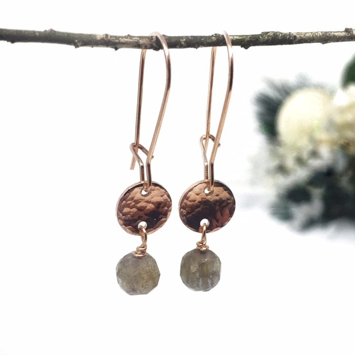 Rose gold earrings with hammered charm and labradorite