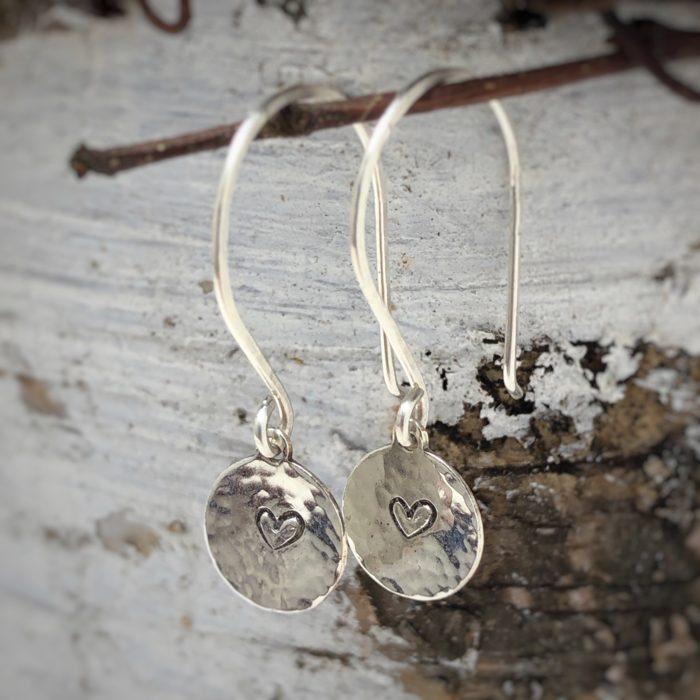 textured heart earrings sterling silver