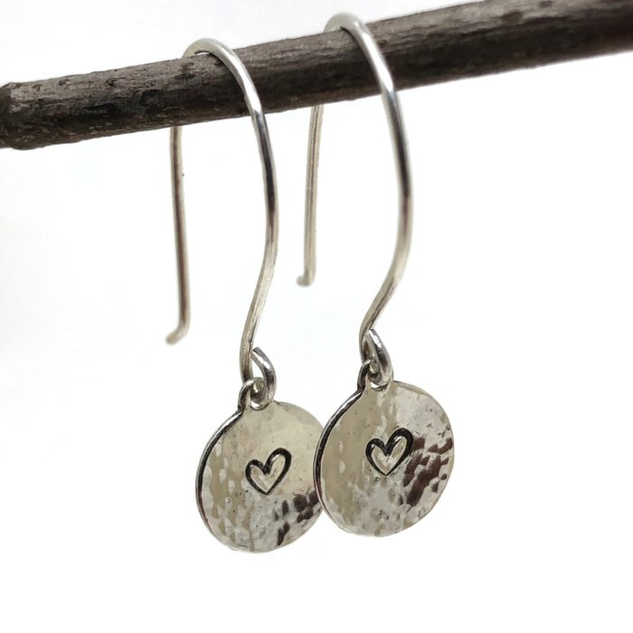 textured heart earrings sterling silver