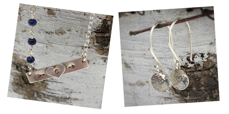 Sterling silver necklace with earrings