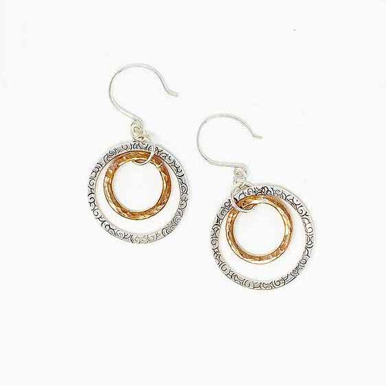 Hoop earrings in silver and copper