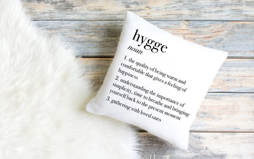 Pillow with the definition of hygge