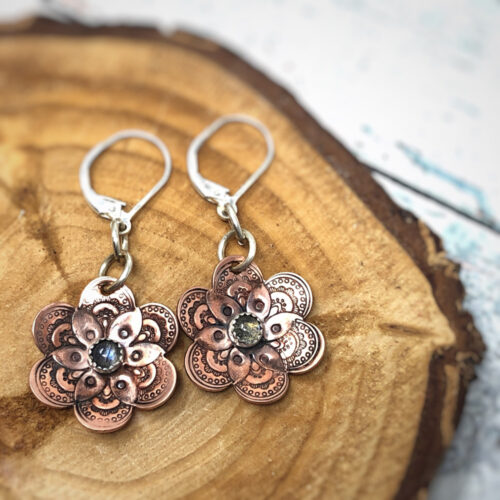 Flower collection, earrings, stamped copper and labradorite gemstone