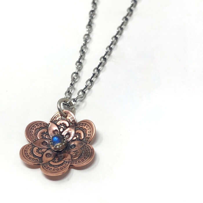 Flower collection, necklace, stamped copper and labradorite gemstone