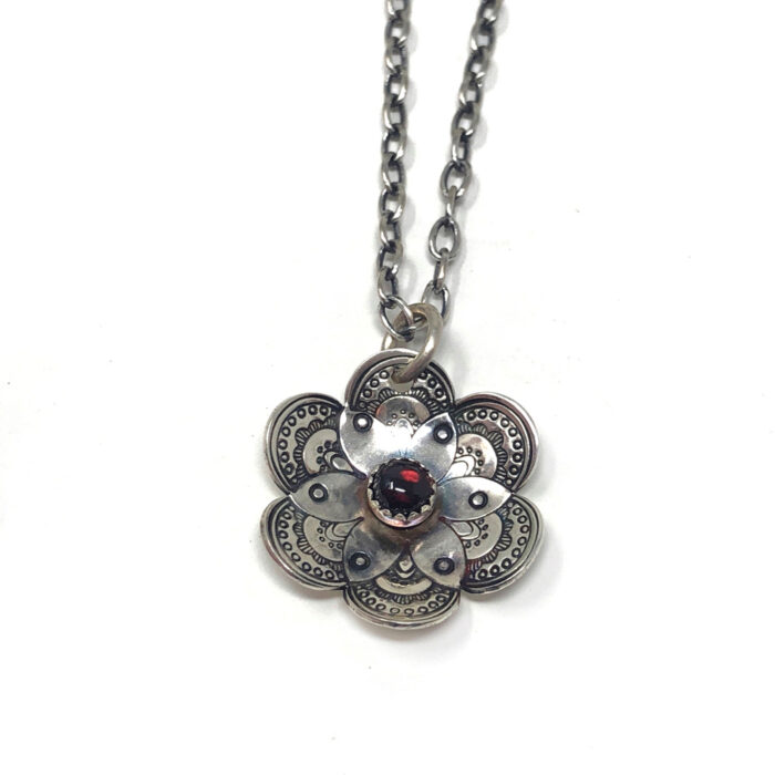 Flower collection, necklace, stamped silver and garnet gemstone