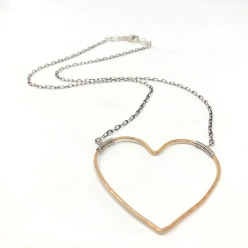 Big heart necklace in gold and silver