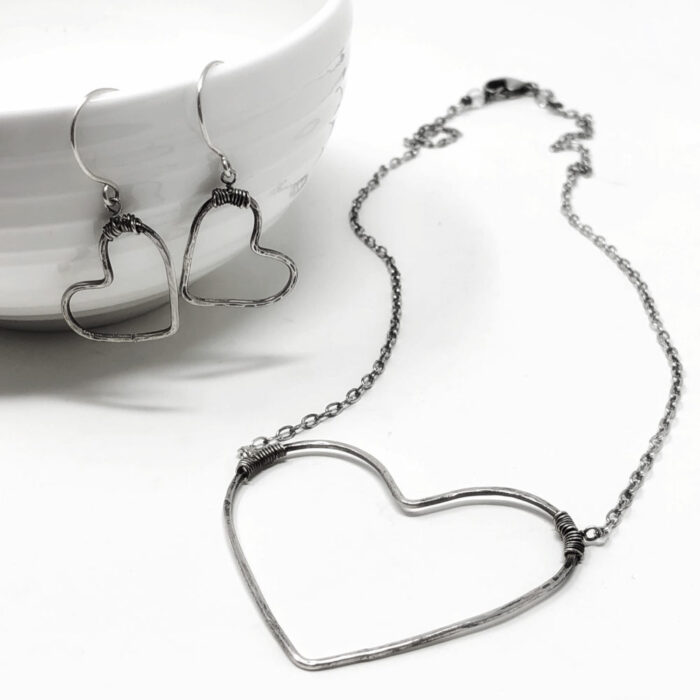Big heart necklace and earrings in sterling silver