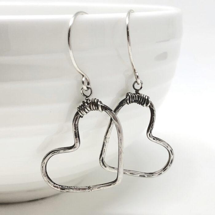 Big heart earrings in sterling silver