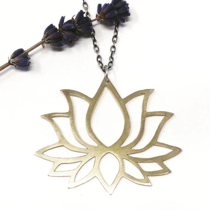 lotus flower pendant necklace in brass