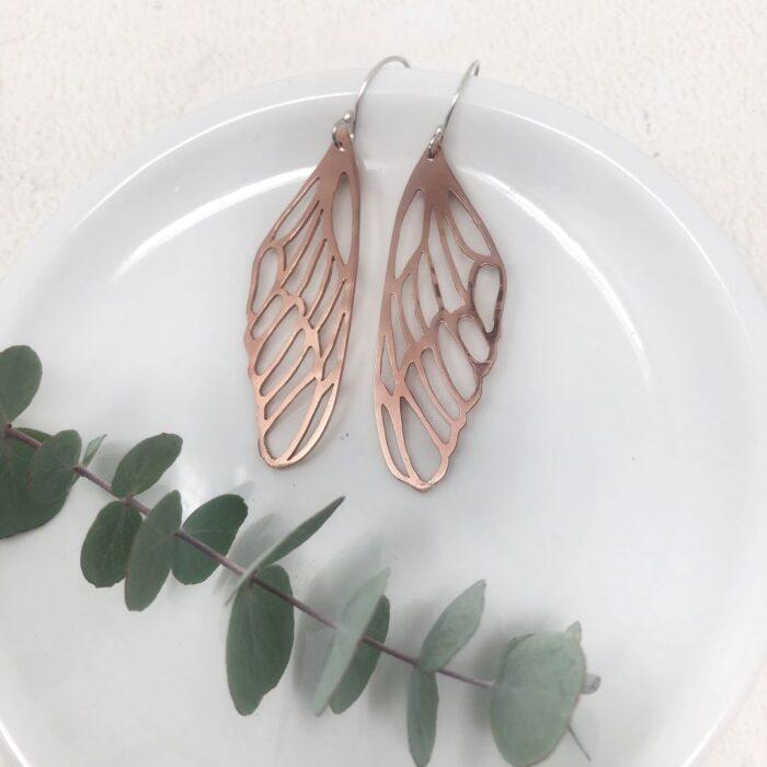 Butterfly wing earrings in copper