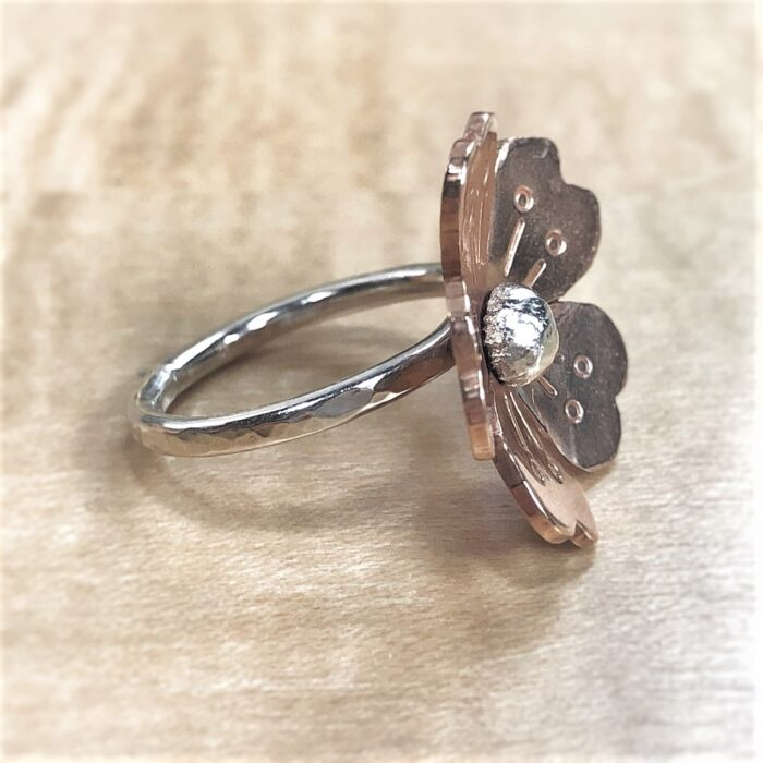5 petal bronze flower on sterling silver ring