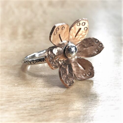 6 petal bronze flower on sterling silver ring