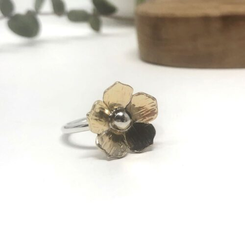 tiny brass flower ring
