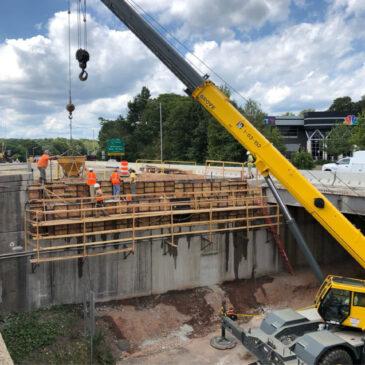 Steel girders being set on new I-84  Westbound bridge at Ridgewood Road
