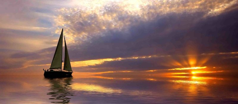 Sailing with a beautiful sunset