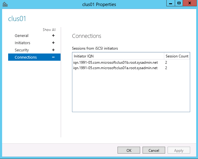 Windows Storage Server 2012 - Verify the iSCSI Initiator Sessions - 02