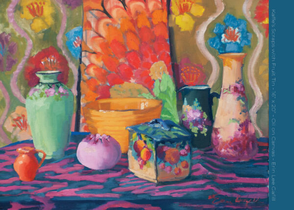 """Kaffe's Scraps with Fruit Tin - 16"""" x 20"""" - Oil on Canvas - Erin Lee Gafill"""