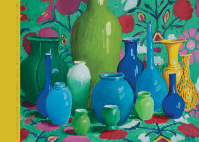 "Blue Pots against Embroidered Fabric - 16"" x 20"" - Acrylic on Canvas - Kaffe Fassett"