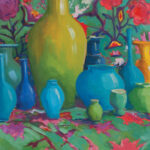 """Blue Pots, Embroidery - 16"""" x 20"""" - Oil on Canvas - Erin Lee Gafill"""