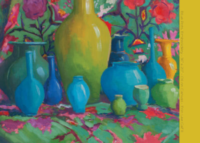 "Blue Pots, Embroidery - 16"" x 20"" - Oil on Canvas - Erin Lee Gafill"