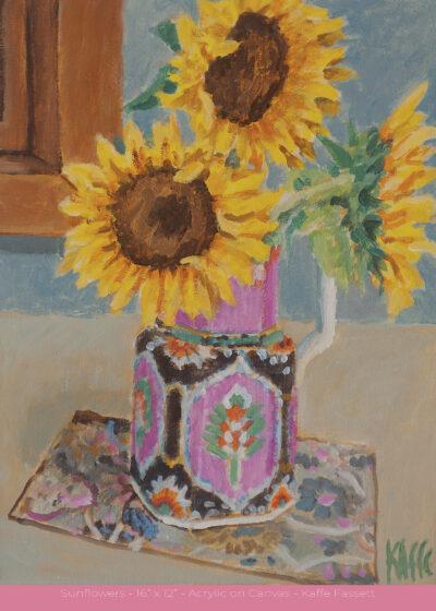 "Sunflowers - 16"" x 12"" - Acrylic on Canvas - Kaffe Fassett"