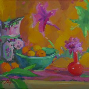 "Indian Quilt, Red Vase, Magenta Flower - 11"" x 14"""