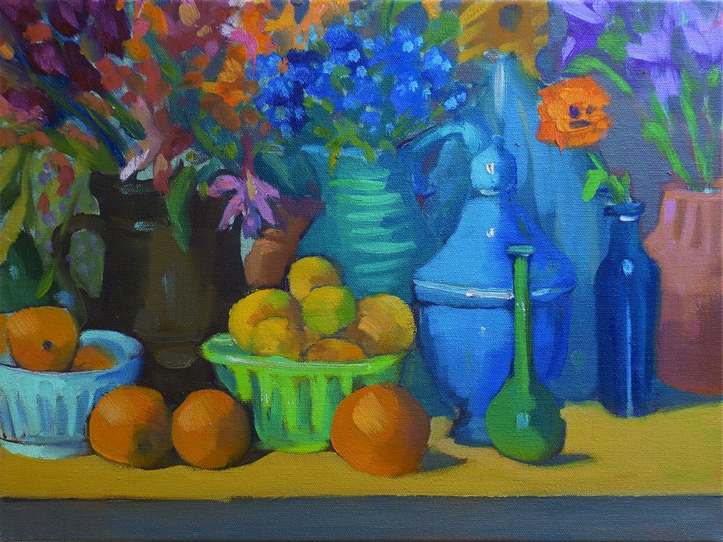 "Poppy in a Cobalt Jar (Kaffe's Jumble) - 12"" x 16"""